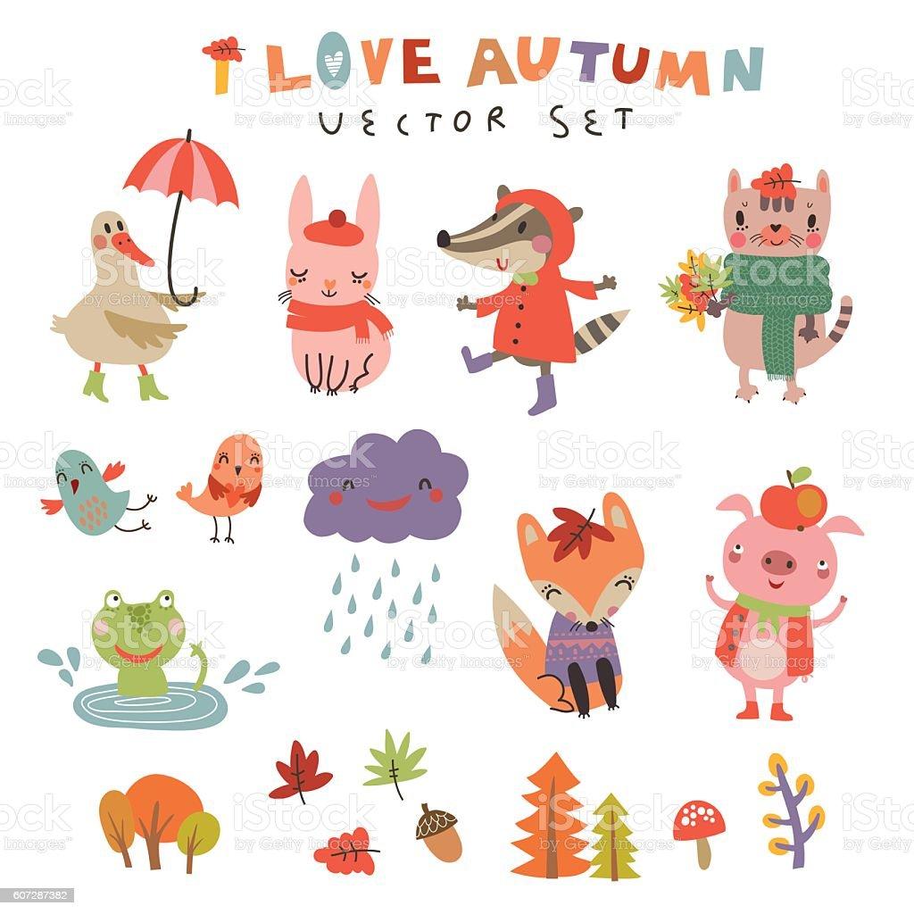 Vector autumn set with the cute animals vector art illustration