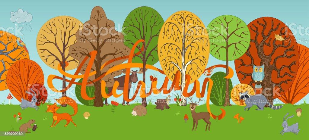 Vector autumn woodland background in cartoon style. vector art illustration