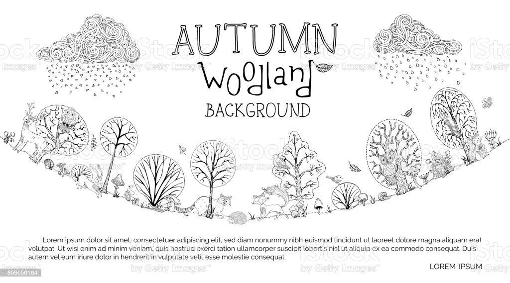 Vector autumn woodland background. vector art illustration