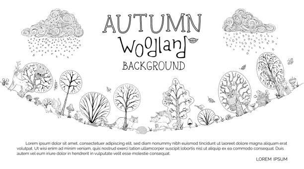 stockillustraties, clipart, cartoons en iconen met vector herfst bos achtergrond. - vogel herfst