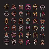 Set of various avatars. Neon color isolated vector icons on black background.