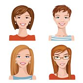 Vector female portraits. There some similar illustration in my portfolio. Please have a look!