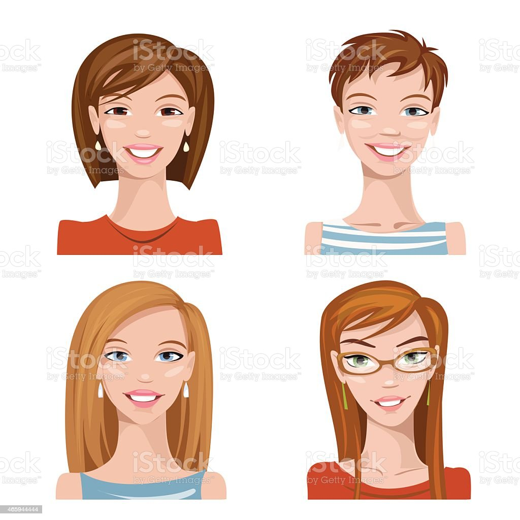 Vector avatars. Set of four portraits. Female characters. vector art illustration
