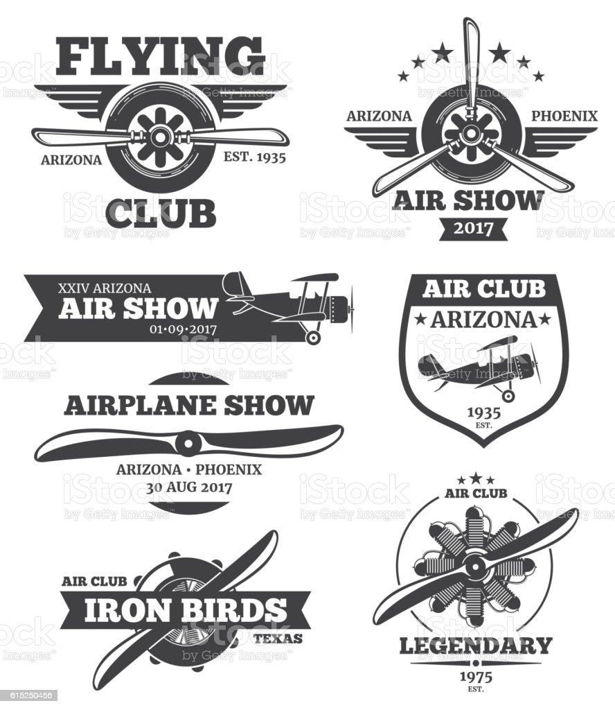 Vector aviation badges, avia club emblems, airplane logos set vector art illustration