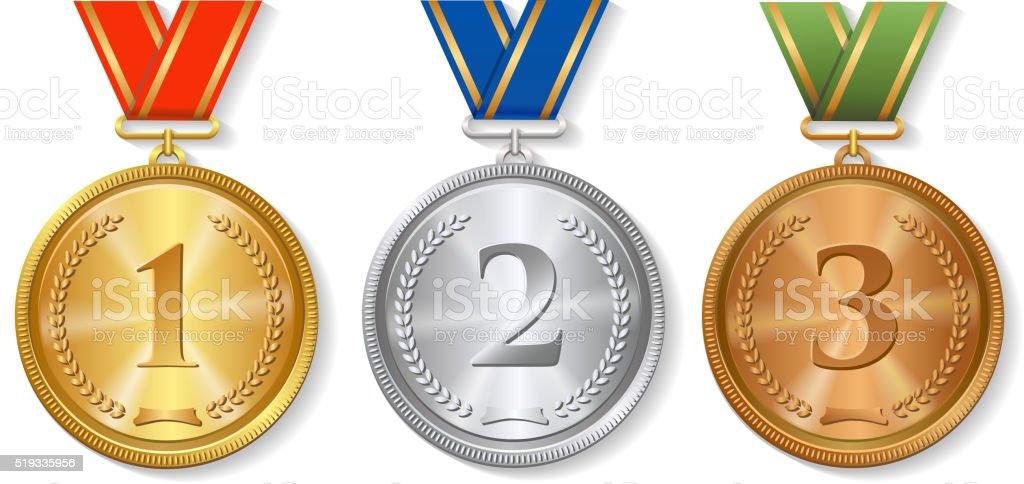 Nice Premio Vettoriale Oro, Argento E Bronzo Impostare Di Medaglie Isolato Premio  Vettoriale Oro Argento E