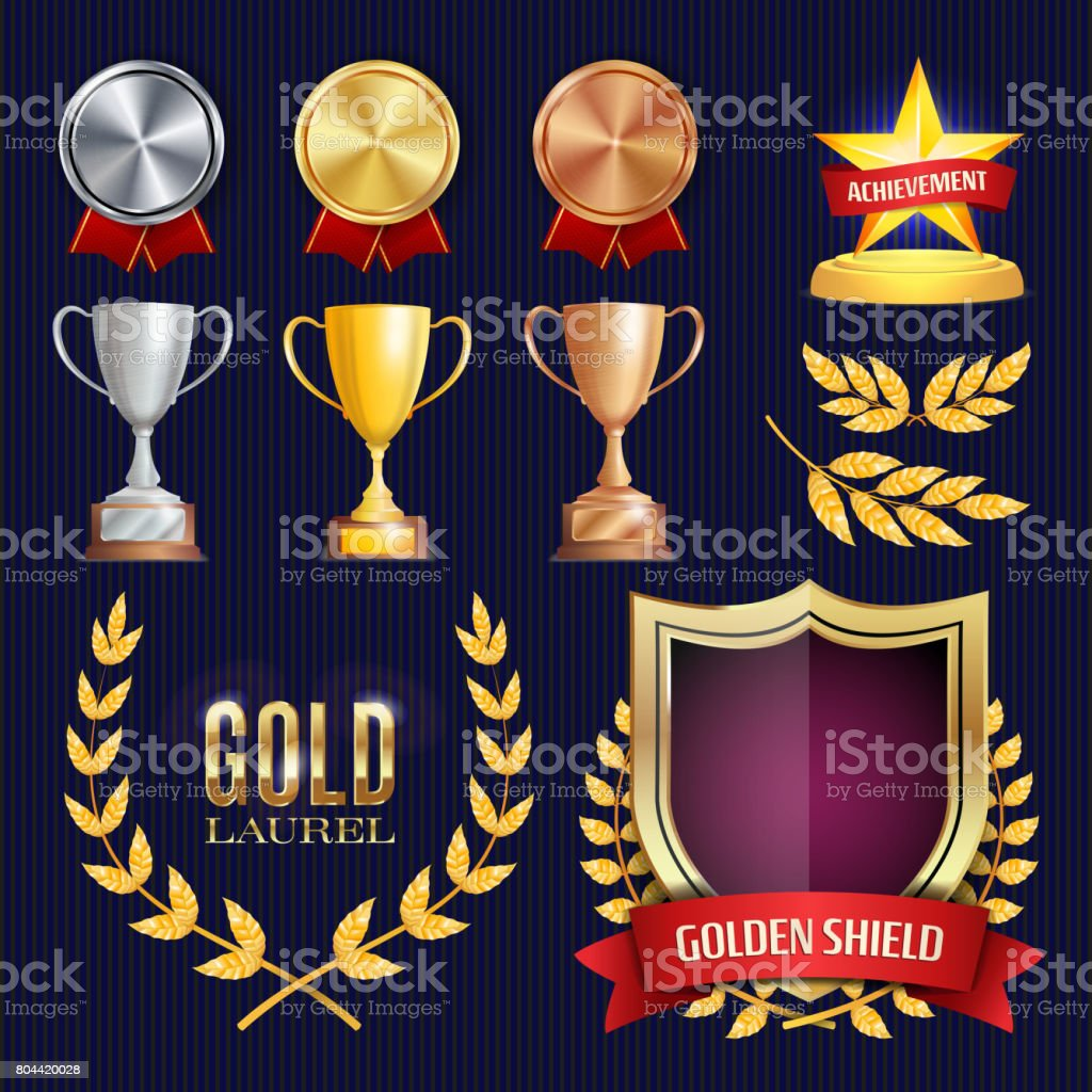 Vector Awards And Trophies Collection. Golden Badges And Labels. Championship Design. 1st, 2nd, 3rd Place. Golden, Silver, Bronze Achievement. Empty Badge, Medal Blank vector art illustration