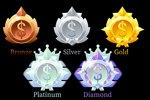 Vector awards medals dolllar gold, silver, bronze, platinum and diamond.