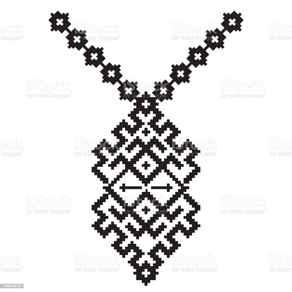 Vector aztec necklace Embroidery for fashion women. Pixel tribal pattern Lizenzfreies vector aztec necklace embroidery for fashion women pixel tribal pattern stock vektor art und mehr bilder von aztekisch