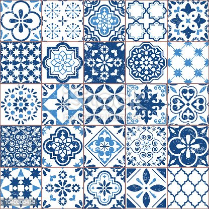 Ornamental textile background, background inspired by Spanish and Portuguese traditional tiles with flowers and geometric shapes