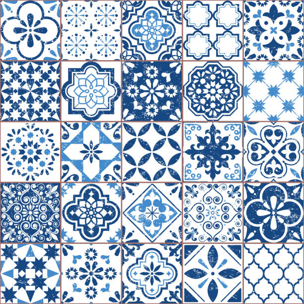 wektor azulejo wzór płytek, portugalski lub hiszpański retro stare płytki mozaika, śródziemnomorski bezszwowy granatowy design - kultura portugalska stock illustrations