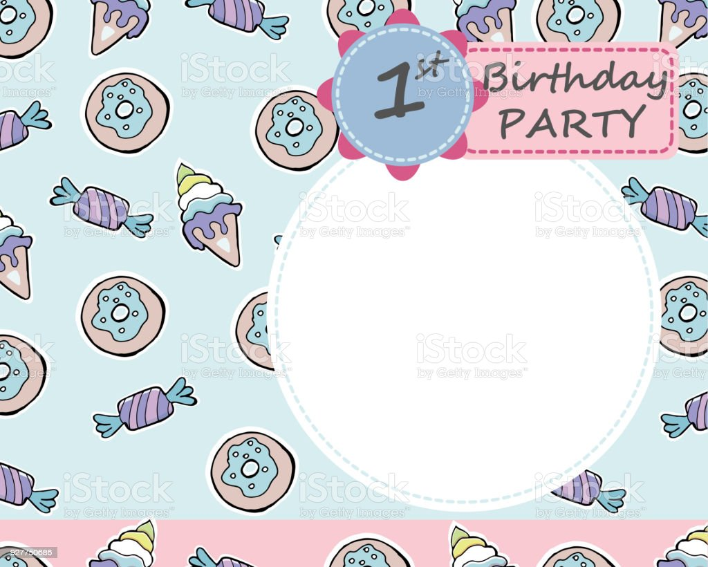 Vector Baby 1th Birthday Party Greeting Card Candies Donuts