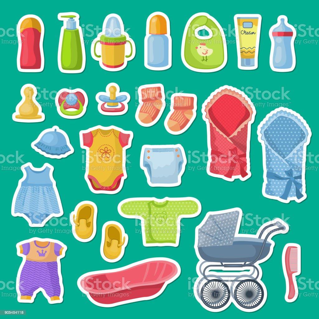 Blauwe Baby Accessoires.Vector Baby Accessoires Stickers Geisoleerd Op Blauwe