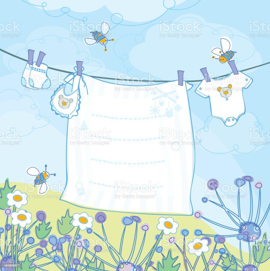 Vector baby boy shower card. vector art illustration