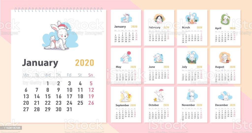 Calendario Adviento 2020.Ilustracion De Vector Calendario Del Bebe Para La Plantilla De 2020