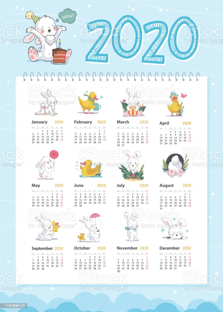 Calendario Adviento 2020.Ilustracion De Vector Calendario Bebe Para 2020 Ano Plantilla Con