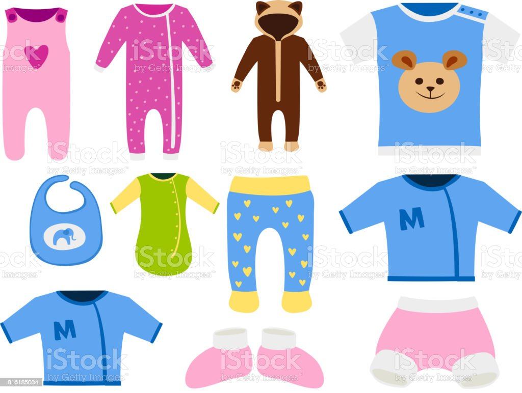 Vector baby clothes icon set design textile casual fabric for Fabric for children s clothes