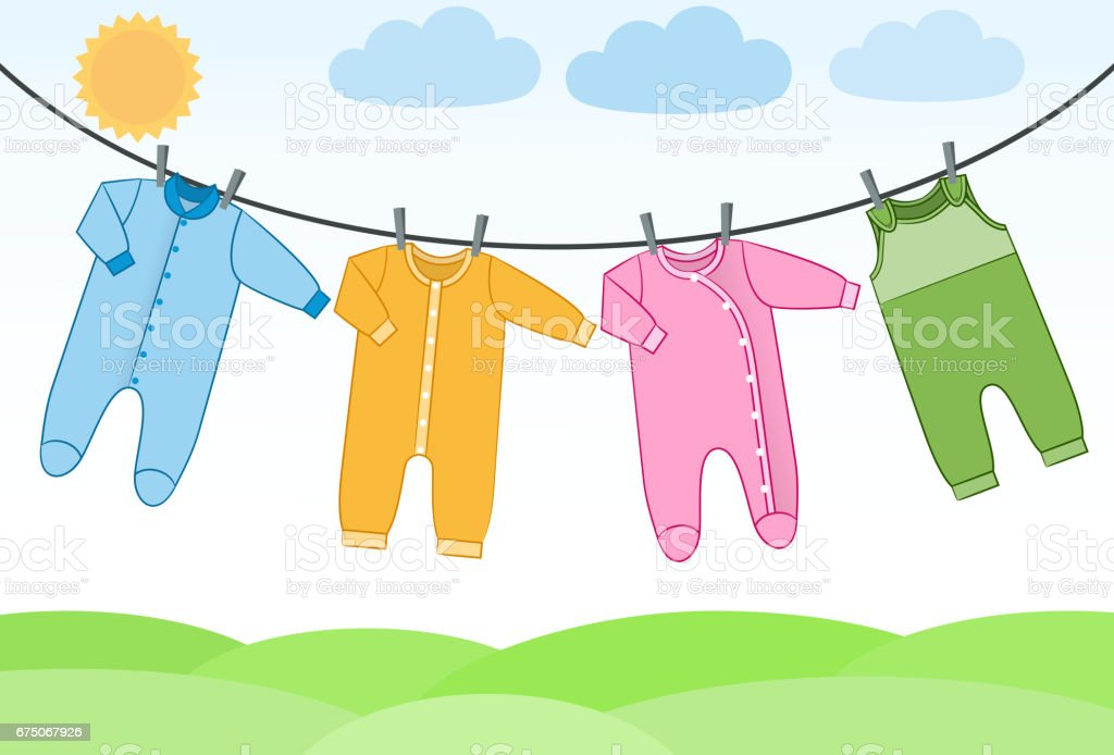 Vector baby clothes on clothesline. vector art illustration