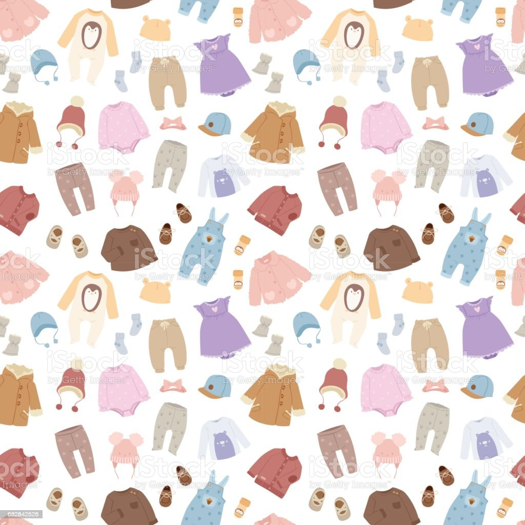 vector baby clothes seamless pattern background stock
