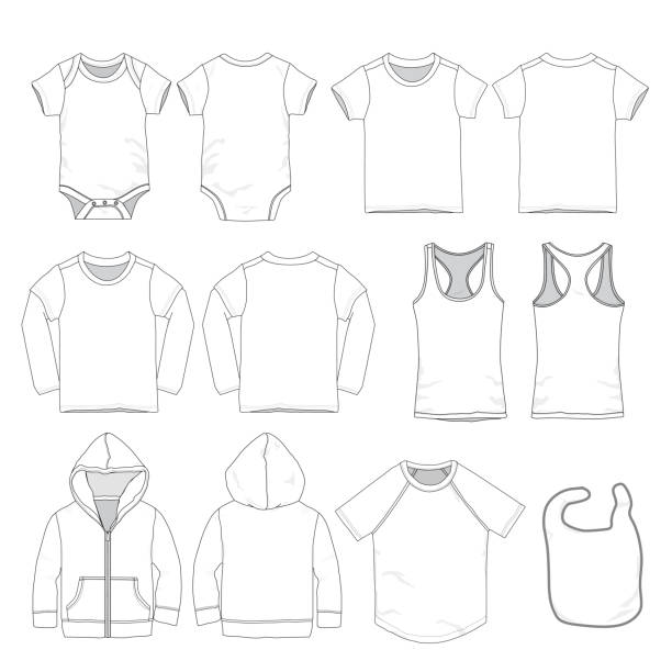 Vector Baby clothes template Various styles of baby clothes templates infant bodysuit stock illustrations