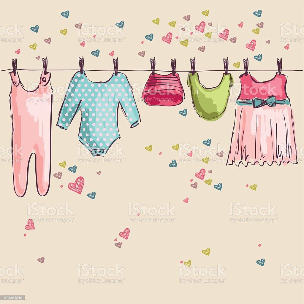 Vector  baby clothes vector art illustration