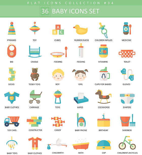 vector baby color flat icon set. elegant style design. - ベビーフード点のイラスト素材/クリップアート素材/マンガ素材/アイコン素材
