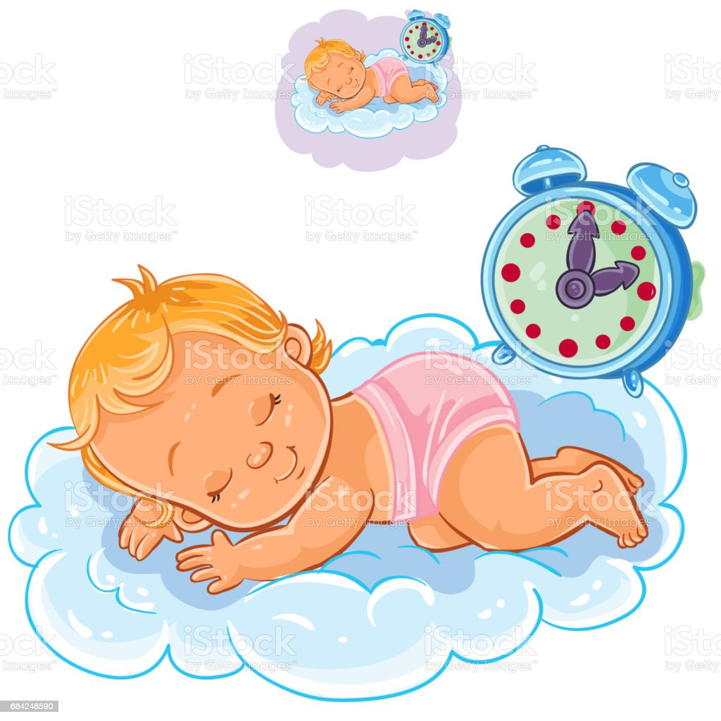 Vector baby in a diaper is sleeping on the cloud royalty-free vector baby in a diaper is sleeping on the cloud stock vector art & more images of alarm
