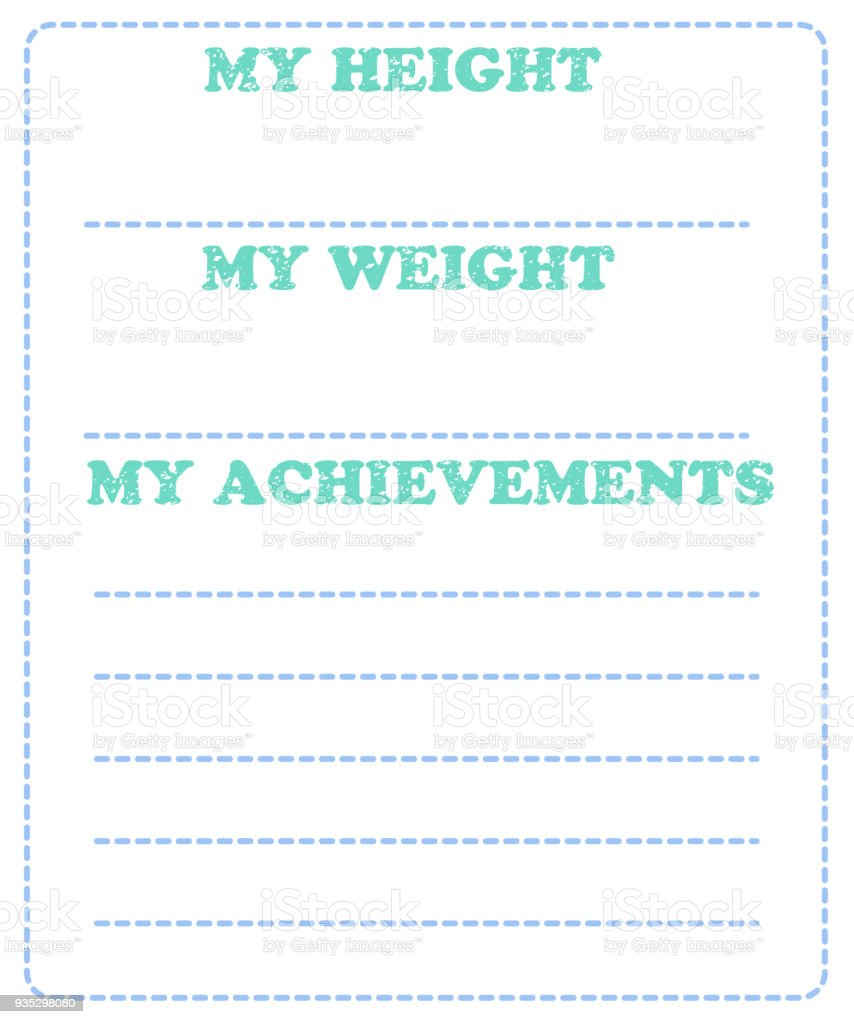 Vector baby milestone card for girl or boy my height my weight my text russia achievement childbirth greeting card m4hsunfo