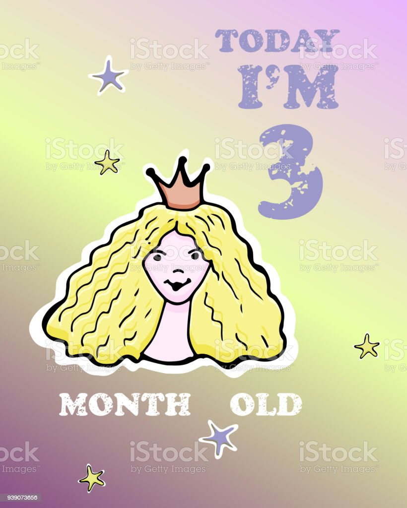 vector baby milestone card for girl or boy today i am three month