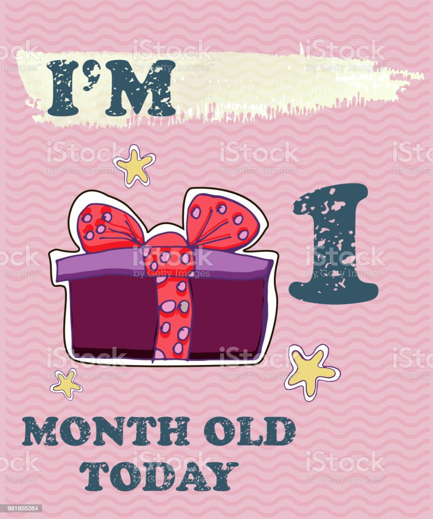 Vector baby milestone card for girl or boy.Today I'm 1 month old