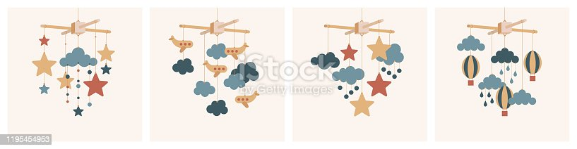 Vector baby mobile set. Mobile pendant toy accessory for baby bed in nursery room. Hanging baby toy with stars, airplanes, clouds and balloons. Vector baby shower stock illustration isolated.