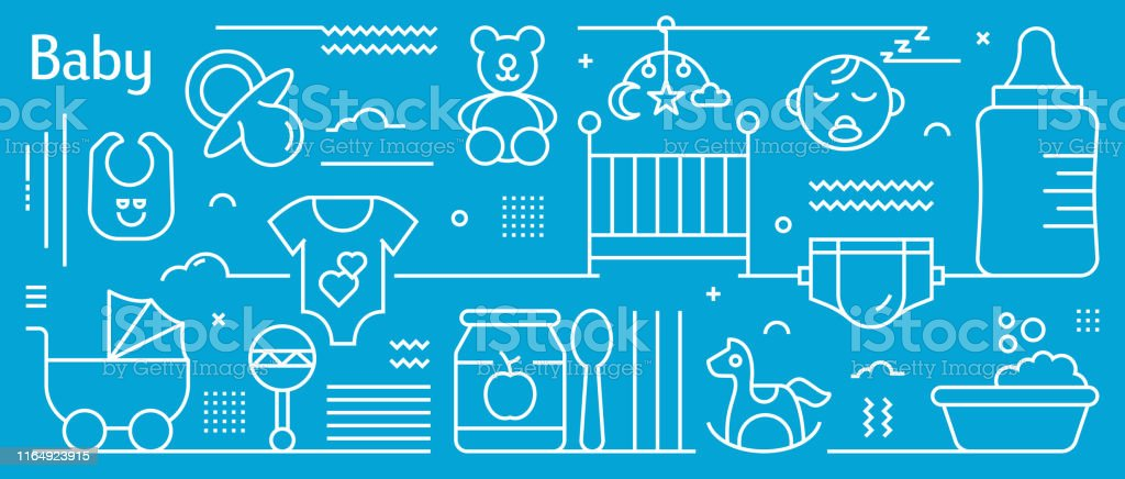 Vector Baby Related Banner Design in Trendy Linear Style. Line Art...