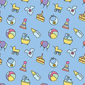 Vector baby seamless pattern for web design or print