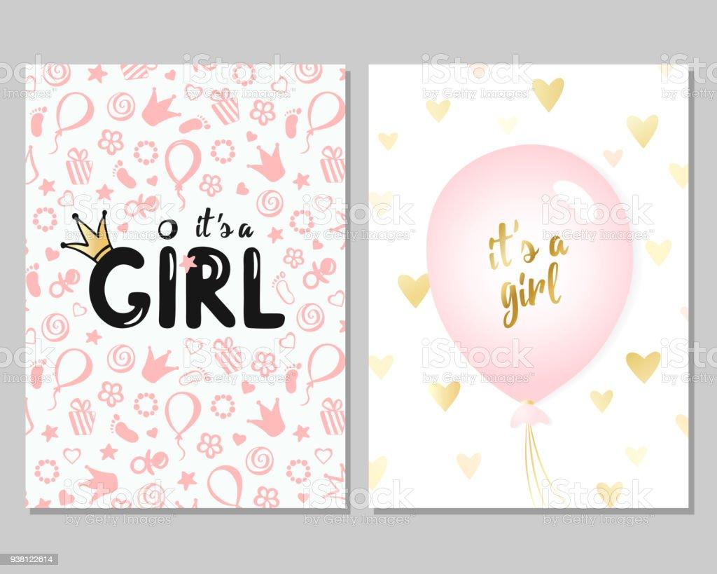 女の子のためのベクトル ベビー シャワー カード。ピンクの図 ベクターアートイラスト