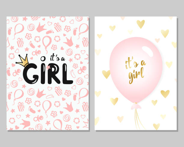 Vector baby shower cards for girls. Pink illustration Vector set of pink baby shower cards for girls. It's a girl card. Vector invitation with cute pattern, balloon. Baby arrival and shower girls stock illustrations