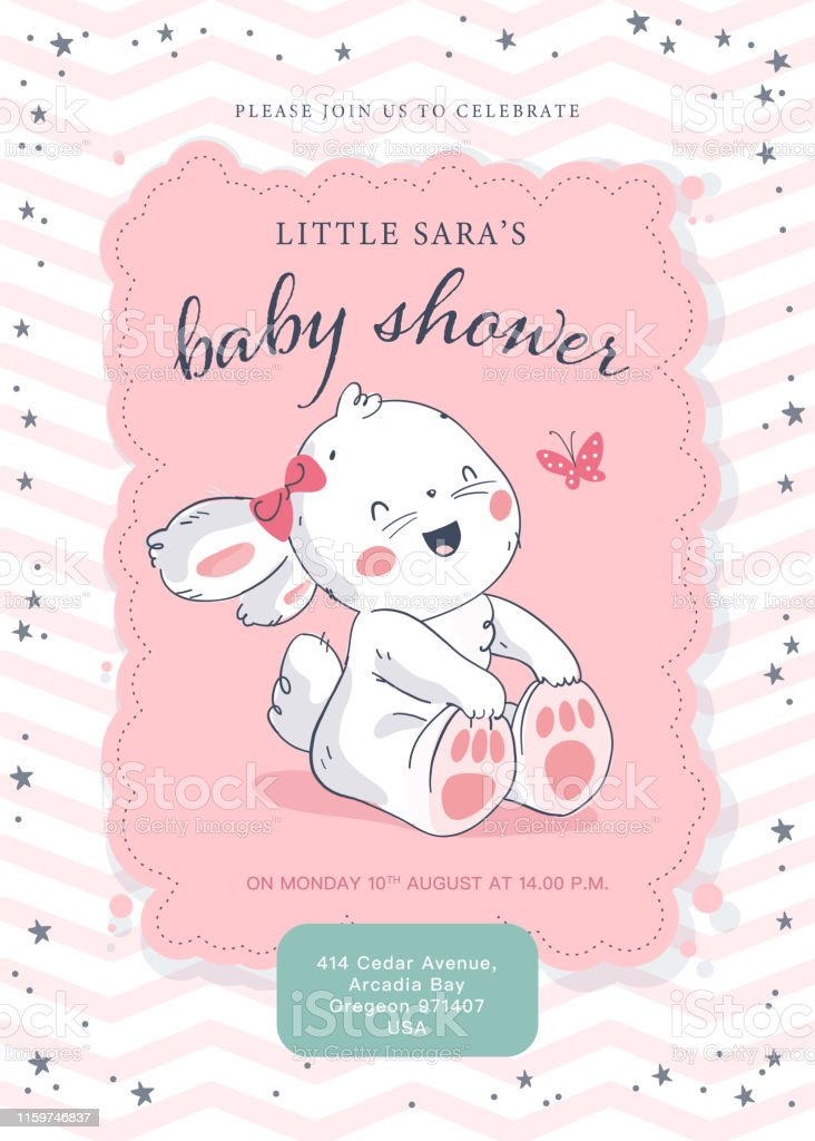 Vector baby shower design template. Cute hand drawn little bunny...