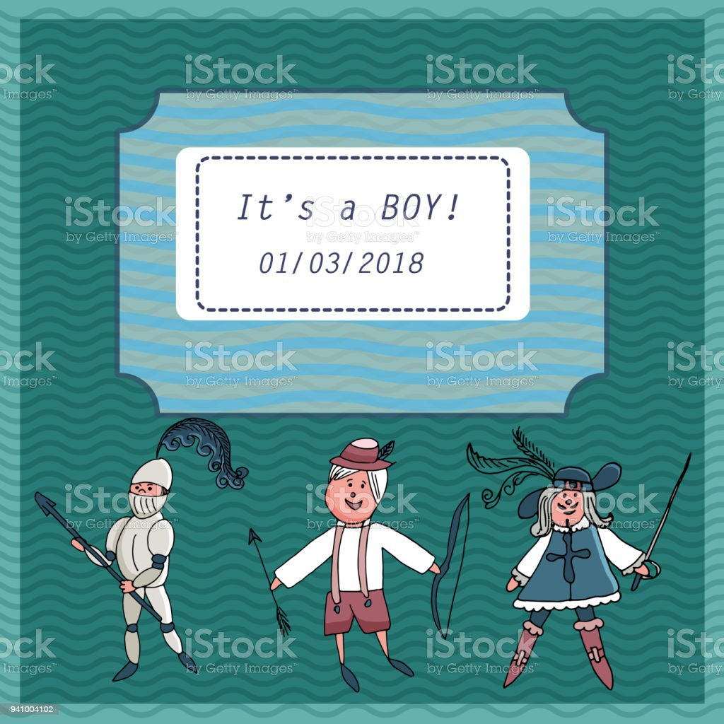 Vector baby shower greeting card text its a baby boy little vector baby shower greeting card text its a baby boy little musketeer knight m4hsunfo