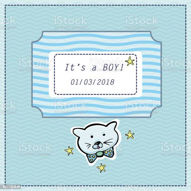 Vector baby shower greeting card text its a boy little cute kitten vector id927750848?b=1&k=6&m=927750848&s=612x612&h=xrd99gofst pnu8adk0ryklnbsjhdqvsnt0guaetex4=