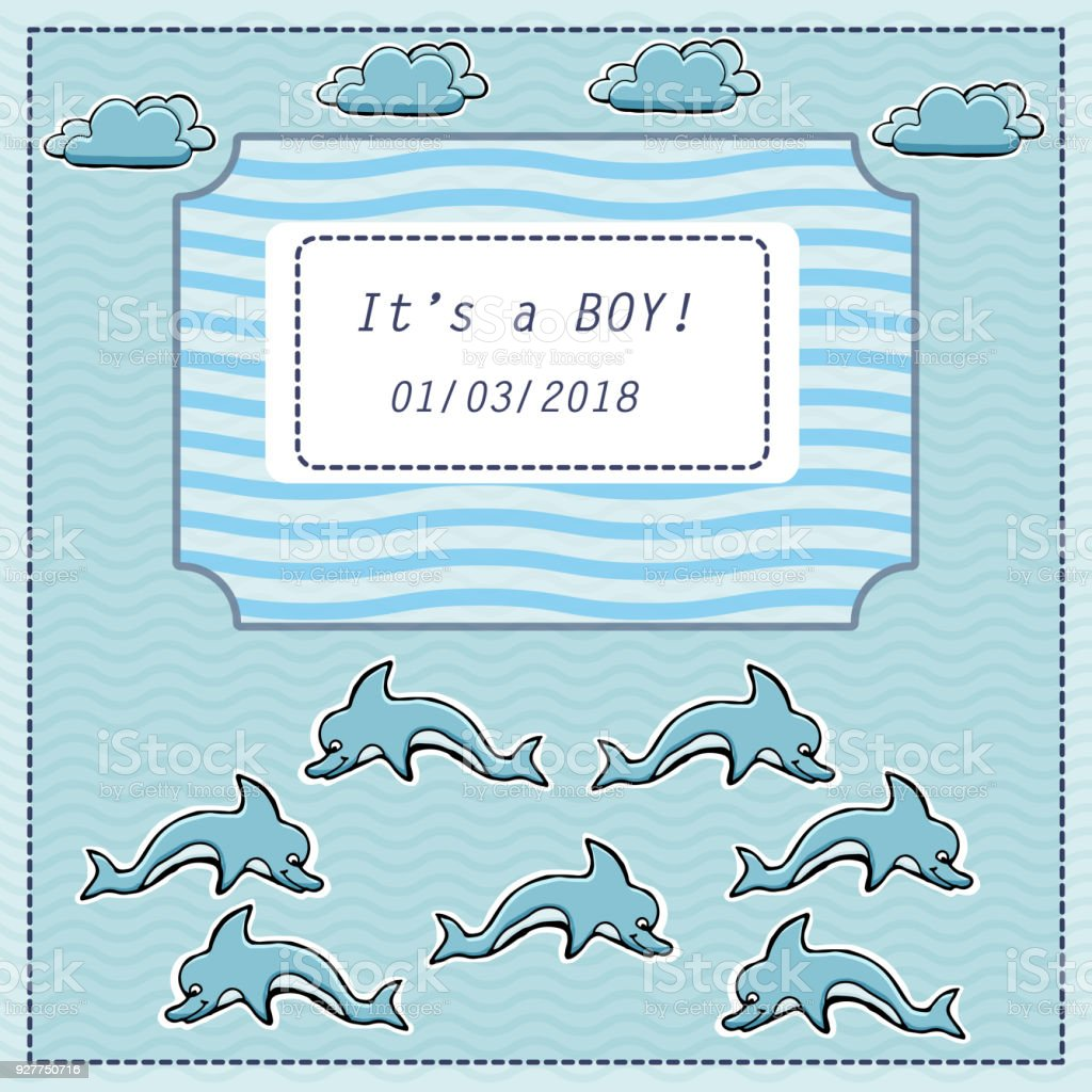 Vector Baby Shower Greeting Card Text Its A Boy Sea Dolphins Waves