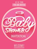 Vector Baby Shower Invitation for Girl. Pink Color. Printed Template for Cards, Vouchers, Invitations, Festivals, Parties, Celebrations.
