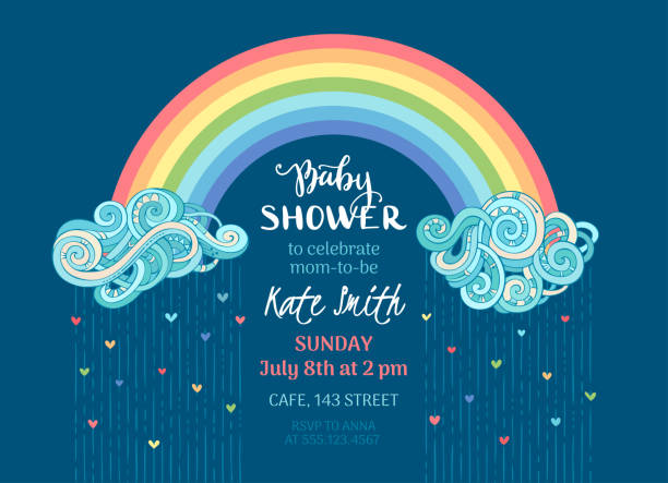 Vector Baby Shower template. Clouds and colourful rainbow on dark blue background. Bright colored hearts. Vector illustration. baby shower stock illustrations