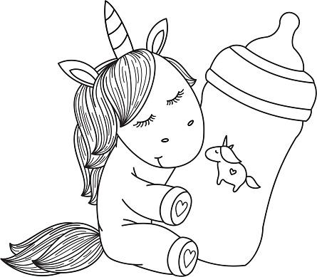 Ilustracion De Botella De Dibujos Animados De Unicornio Bebe