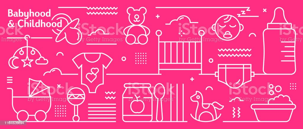 Vector Babyhood and Childhood Banner Design in Trendy Linear Style....