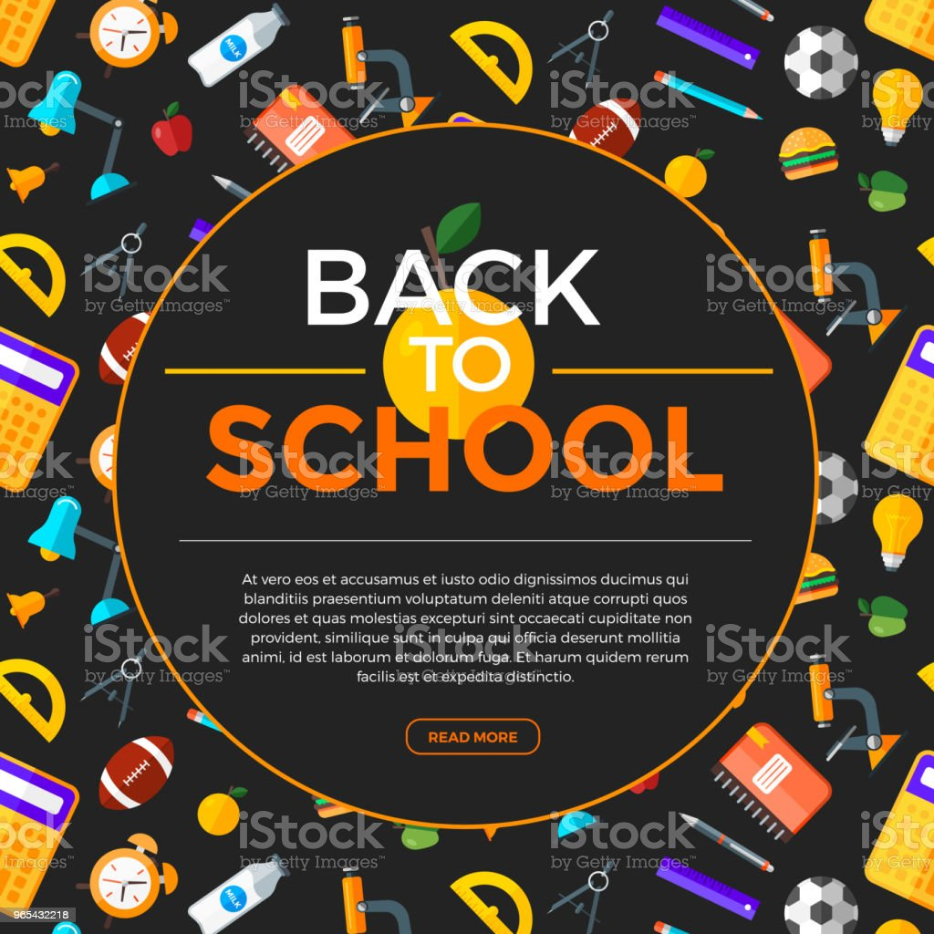 Vector Back To School background with education icons. Education object in flat style. royalty-free vector back to school background with education icons education object in flat style stock vector art & more images of back