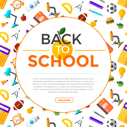 Vector Back To School Background With Education Icons Education Object In Flat Style Stock Illustration - Download Image Now