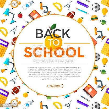 Vector Back To School Background With Education Icons Education Object In Flat Style Stock Vector Art & More Images of Back 965432744