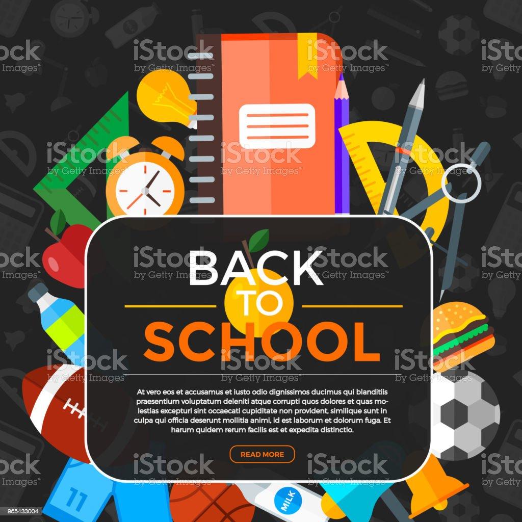 Fond du vecteur retour à l'école avec des icônes de l'éducation. Objet de l'éducation dans le style plat. - clipart vectoriel de Carré - Composition libre de droits