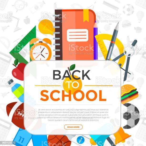 Vetores de Fundo De Volta À Escola De Vector Com Ícones De Educação Objeto De Educação Em Estilo Simples e mais imagens de Brilhante - Luminosidade