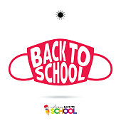 Vector back to school banner, poster background. Color pencil and face mask on white background. Stock illustration. Warning sign about coronavirus or covid-19 vector illustration