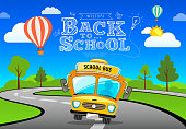Vector Back to school bus on road and tree concept banner design background, illustration