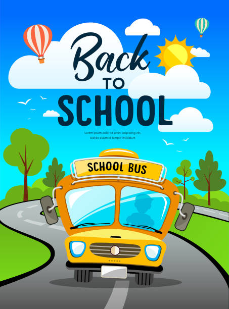 Vector Back to school bus on road and tree concept design Vector Back to school bus on road and tree concept design background, illustration school buses stock illustrations